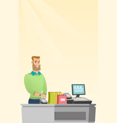 caucasian man paying wireless with smart watch vector image