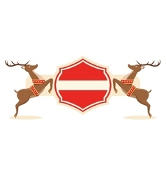 Christmas Label Icon with Santa Reindeers and vector