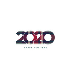 christmas plaid 2020 happy new year vintage vector image
