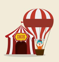 Clown circus with balloon air flying vector