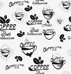 Coffee seamless pattern with brown cups of brewed vector