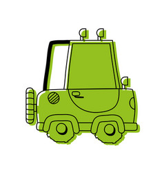 color tractor farm vehicle plant transport vector image