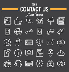 Contact us line icon set web button signs vector