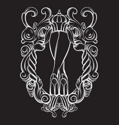 creative woman legs in barogue frame vector image
