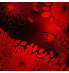 Deep red background with stylized flowers vector