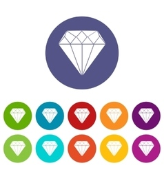 Diamond set icons vector