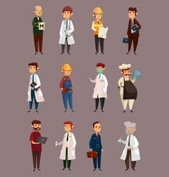 doctor job and builder man work and profession vector image