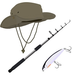 Fishing pole hat and bait vector