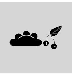 Flat in black and white dumpling with cherries vector