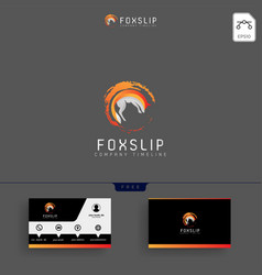 fox tail logo template and business card vector image