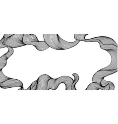 frame with wave line curls vector image
