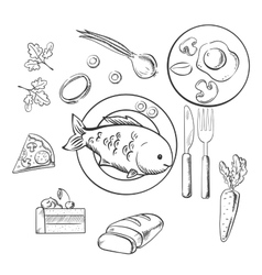 Fresh dinner food with sketch icons vector
