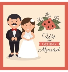 Groom and bride cute weddign card design graphic vector