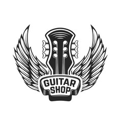 Guitar shop guitar head with wings rock and roll vector