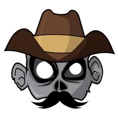 Halloween paper mask - cowboy zombie vector
