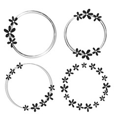 hand drawn minimal doodle flower wreath collection vector image
