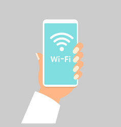 hand holding smartphone with wifi wireless vector image