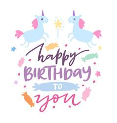 happy birthday card with cute unicorns bashowel vector image