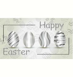 happy easter silver eggs vector image