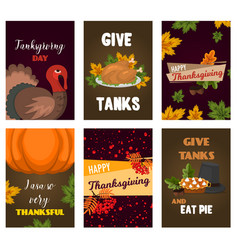 happy thanksgiving cards celebration banner design vector image