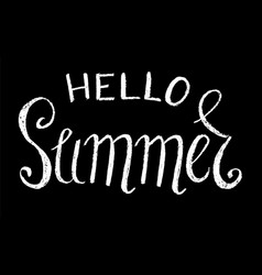 hello summer white chalk vector image