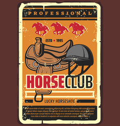 Horserace professional horse jockey club vector