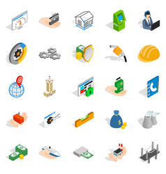 Industrial company icons set isometric style vector