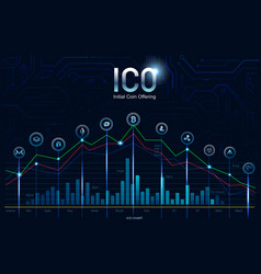 initial ico coin offering concept digital money vector image