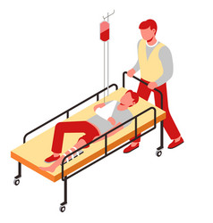 Injury first aid bone fracture man on gurney with vector