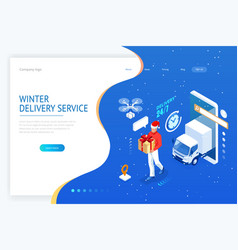 isometric christmas online shopping and winter vector image