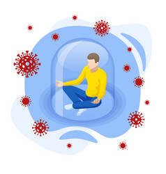 isometric corona virus self-quarantine concept vector image