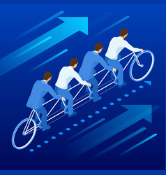 Isometric goals setting for business team vector