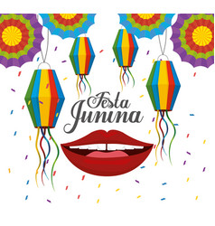 lanterns with flowers and mouth to festa junina vector image
