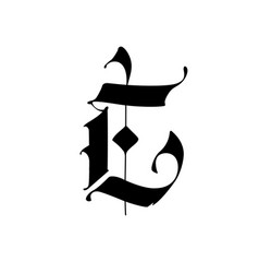 Letter e in gothic style alphabet the symbol vector