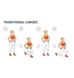 Lunges classic plyometric exercise girl doing vector
