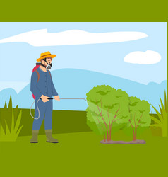 Man in protective mask spraying on plants farmer vector