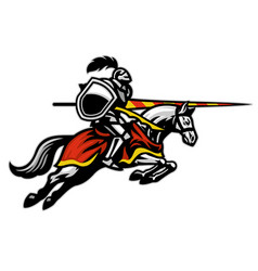 Medieval jousting sport player ride running horse vector