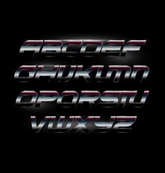 Modern italic bold font with metallic texture vector