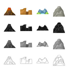 mountains nature stone and other web icon in vector image