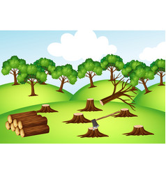 mountains with chopped trees vector image
