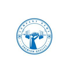 muscular hand hold dumbbell gym fitness sport logo vector image