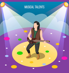 Musical talents isometric composition vector