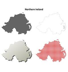 Northern Ireland outline map set vector