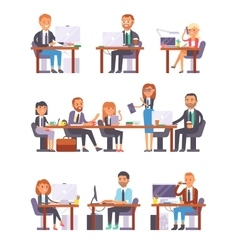 Office people at work set vector