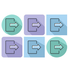 outlined icon of exit logout with parallel and vector image