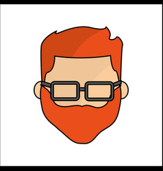 People avatar face men with glasses icon vector