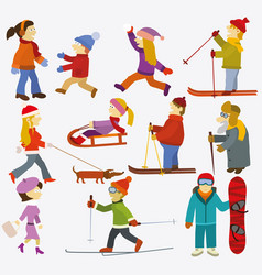 people collection winter vector image