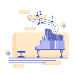 Piano and chair with notess vector