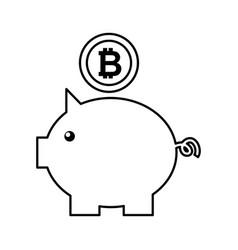 piggy savings with bitcoin vector image