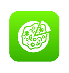 pizza food icon digital green vector image